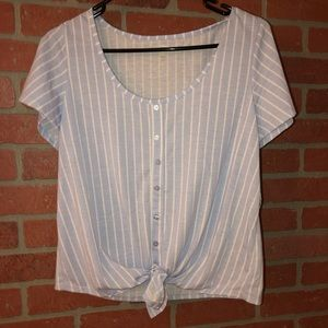 Blue Pinstripe Crop T Shirt